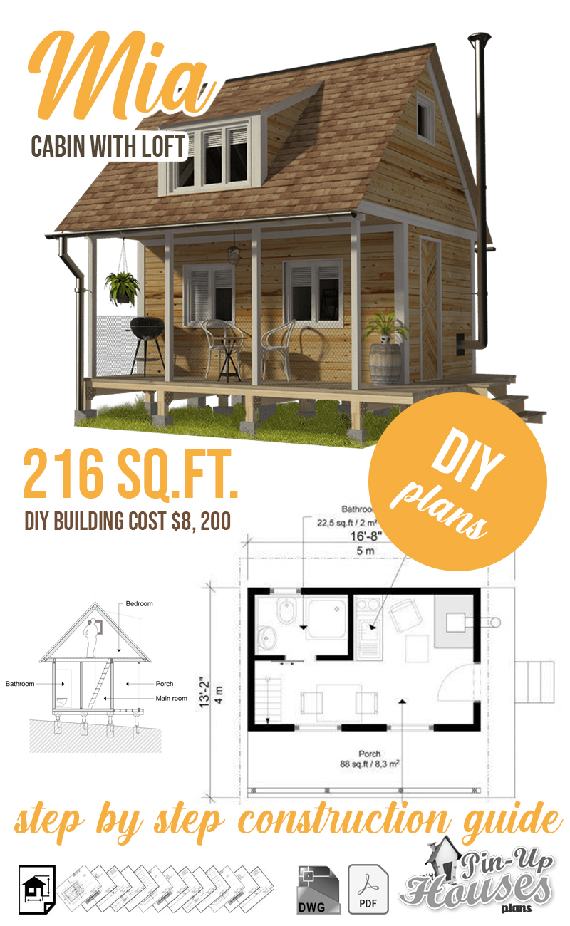 The 27 Best Small Cabin Plans (Garden Shed Plans, Micro Cottages, Small  Houses) - Small Wooden House Plans | Micro Homes Floor Plans | Cabin Plans