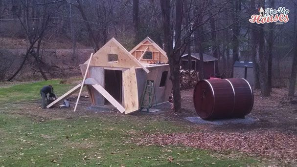 DIY wood cabin loft pin-up houses