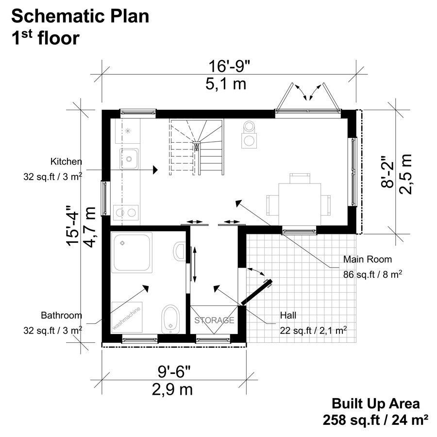 2 Bedroom Small House Plans